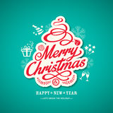 Christmas sign design on green background Stock Photos