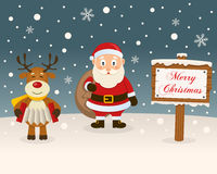 Christmas Sign - Reindeer & Santa Claus Royalty Free Stock Images