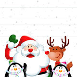 Christmas sign, Santa claus and friends in white Royalty Free Stock Photography