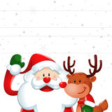 Christmas sign, Santa claus and reindeer in white Stock Images