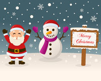 Christmas Sign - Santa Claus & Snowman Royalty Free Stock Images