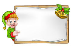 Christmas Sign Santa Helper Elf Stock Image