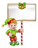 Christmas Sign Santa Helper Elf Stock Photography