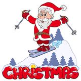 Christmas sign with skiing Santa Royalty Free Stock Photos