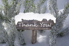 Christmas Sign Snow Fir Tree Branch Text Thank You Stock Photos