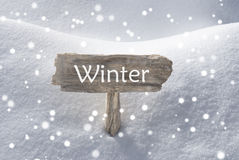 Christmas Sign Snow And Snowflakes Winter Stock Photos