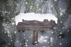Christmas Sign Snowflakes Fir Tree Copy Space Stock Image