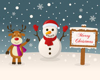 Christmas Sign - Snowman & Reindeer Stock Photography