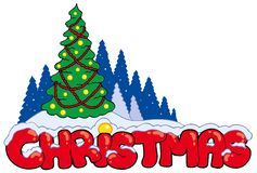 Christmas sign with tree Stock Images