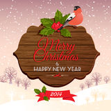 Christmas signboard with holly berry and bullfinch Royalty Free Stock Image