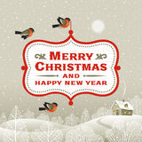 Christmas signboard over winter landscape Stock Photos