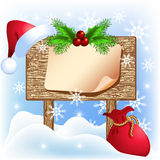 Christmas  signboard with santa hat Royalty Free Stock Photo