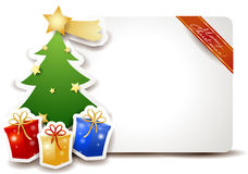 Christmas signboard with tree and gifts Royalty Free Stock Image