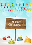Christmas signboard on winter background Royalty Free Stock Photos