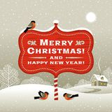 Christmas signboard and winter landscape Royalty Free Stock Photography