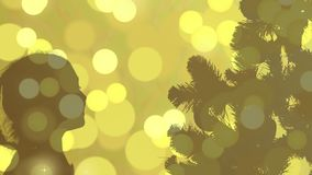 Christmas silhouette abstract background. Gold flickering lights. Greeting card Christmas eve. Flash lights gold color stock footage