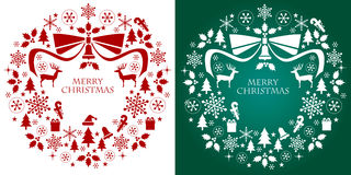 Christmas silhouette collection wreath Stock Photos