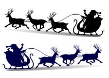 Christmas Silhouette of Santa Claus rides in a sleigh on deer, c vector illustration