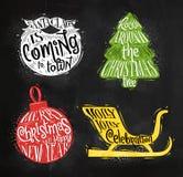 Christmas silhouettes ball chalk Stock Photos