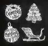 Christmas silhouettes beard chalk Stock Photography