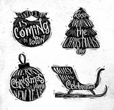 Christmas silhouettes beard Stock Images