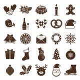 Christmas silhouettes icons Stock Image