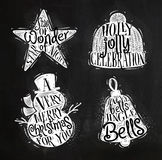 Christmas silhouettes star chalk Stock Photos