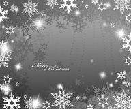 Christmas silver background. With snow flakes stock illustration