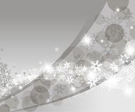 Christmas silver background. With snow flakes Stock Photography