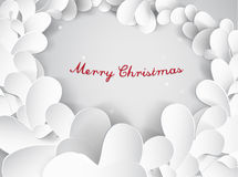 Christmas silver background with leafs and Merry Christmas text. Vector art Royalty Free Stock Images