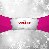 Christmas silver background with snow flakes. Vector art Stock Image
