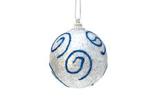 Christmas silver ball with blue Royalty Free Stock Photos