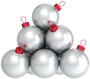 Christmas silver balls baubles Stock Photography
