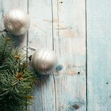 Christmas silver balls on a blue wooden background. Christmas concept. Christmas silver balls on a blue wooden background. Christmas concept Stock Photography