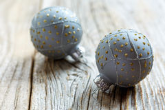 Christmas silver balls with gold ornament. Stock Images