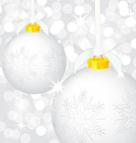 Christmas silver balls vector Royalty Free Stock Image