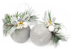 Christmas silver balls on the white Royalty Free Stock Photos