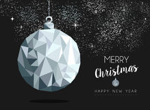 Christmas silver bauble ornament greeting card. Merry christmas happy new year fancy silver ornament bauble shape in hipster low poly style. Ideal for xmas card Royalty Free Stock Photos