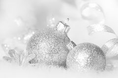 Christmas silver baubles in white and black abstract Stock Photos