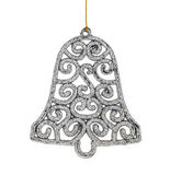 Christmas silver bell & Accessories. isolated on white backgroun Stock Photos