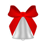 Christmas silver bell with red bow Royalty Free Stock Images