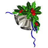 Christmas silver bells holly sprig and berries Stock Photography