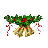 Christmas silver bells holly sprig and berries Royalty Free Stock Image