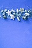 Christmas Silver and Blue Border. Christmas Silver on Blue Spotted Background Border Stock Photos