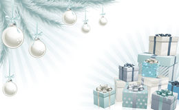 Christmas silver blue corner elements. Christmas silver blue corner background elements. Christmas tree, balls and gifts. Corners can be moved for more space in Stock Photography