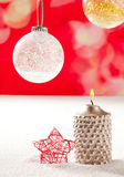Christmas silver candle and red star on snow Royalty Free Stock Photo