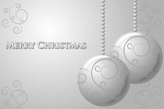 Christmas Silver Card. Silver christmas cars with balls and curls Stock Photo