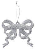 Christmas silver decoration bow Stock Photos