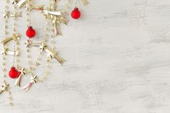 Christmas silver garland with christmas ornaments Royalty Free Stock Photos