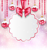 Christmas Silver Glassy Balls with Clean Card with Bow Ribbon Royalty Free Stock Photography